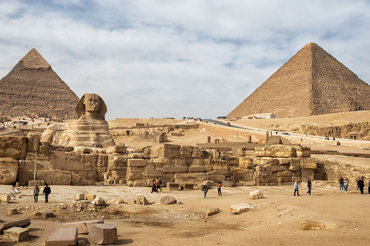 pyramids and sphinx at giza egypt
