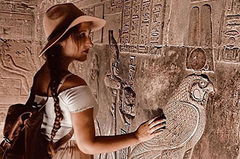 girl with horus edfu temple egypt