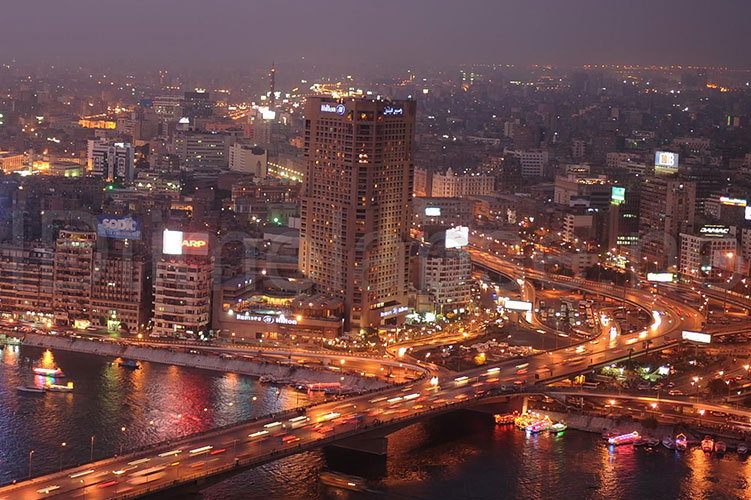 cairo nile at night egypt