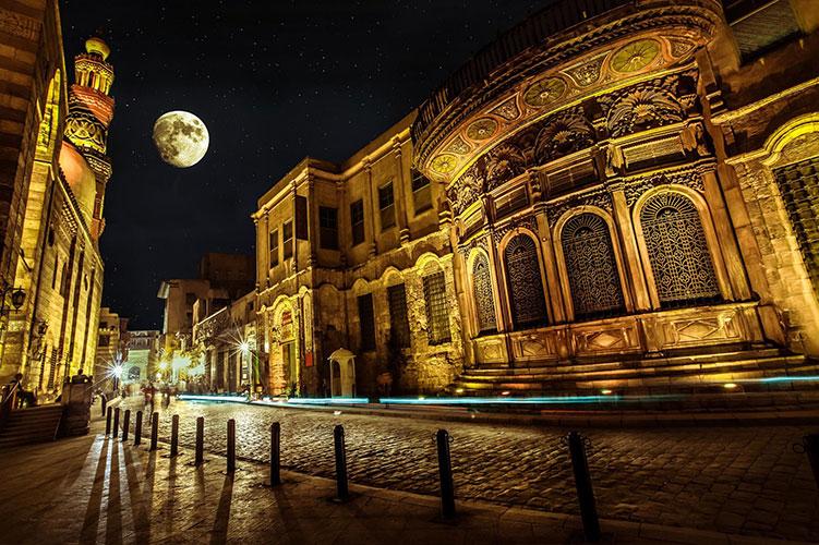el moez street at night cairo egypt